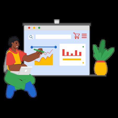 Employees analyzing marketing data Illustration