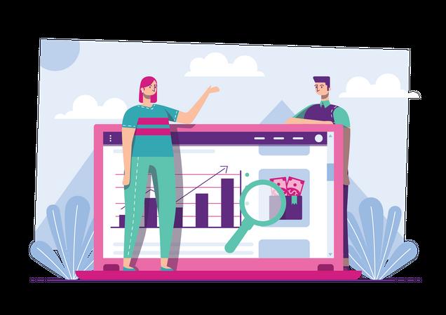 Employees analyzing product advertising Illustration