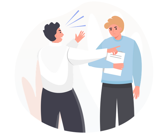 Employees arguing over project work Illustration