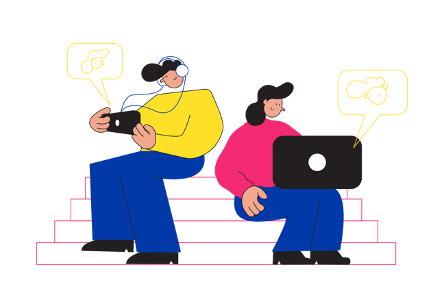 Employees attending online meeting Illustration