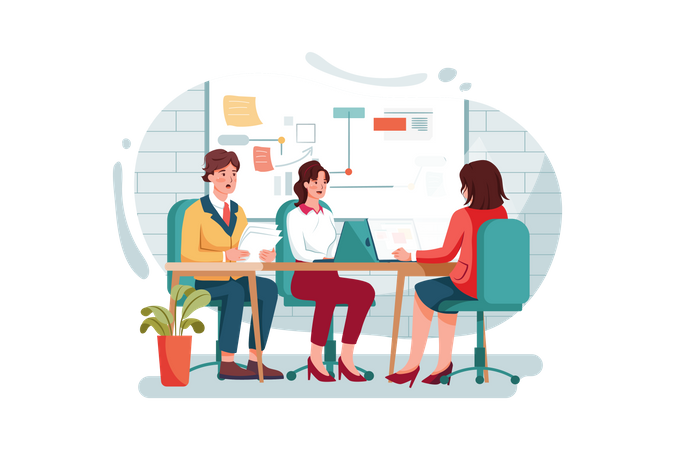 Employees busy in the office Illustration
