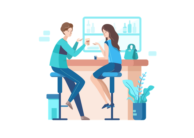 Employees Chatting in A Bar Illustration