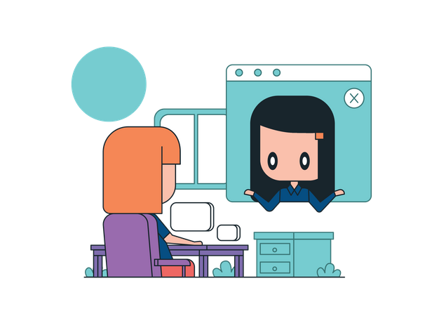 Employees discussing business idea on video call Illustration