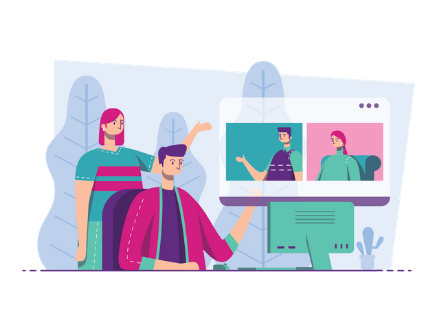 Employees discussing marketing strategy on digital meeting Illustration
