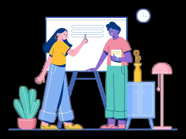 Employees doing Data Analysis Illustration