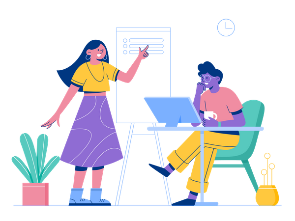Employees doing discussion Illustration