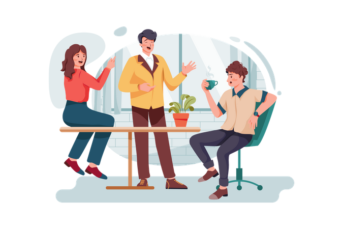 Employees doing discussion on break time Illustration
