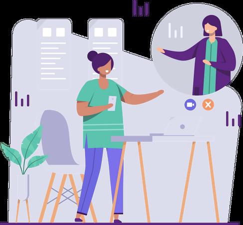 Employees doing online meeting Illustration