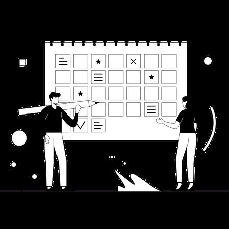 Employees doing planning of work Illustration