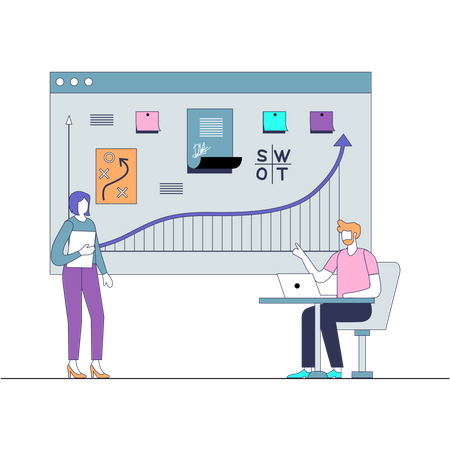 Employees doing Strategy Planning Illustration