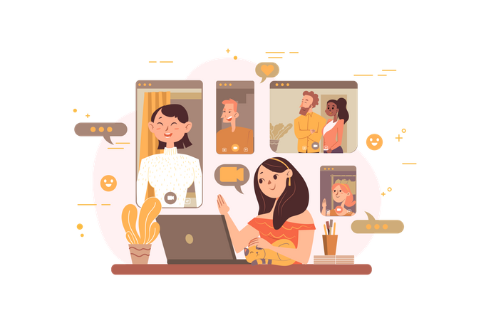 Employees doing video conference Illustration