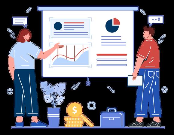 Employees giving presentation Illustration