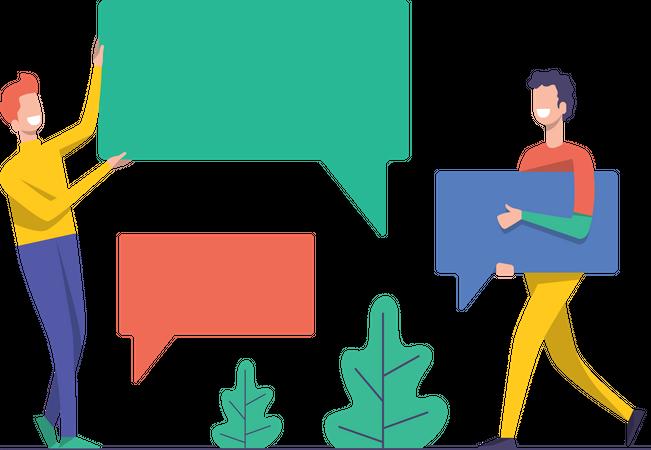 Employees having conversation Illustration