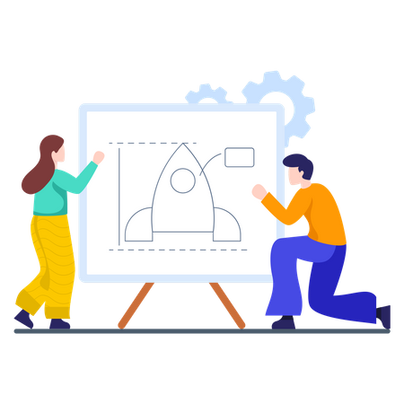 Employees making launch plan together Illustration