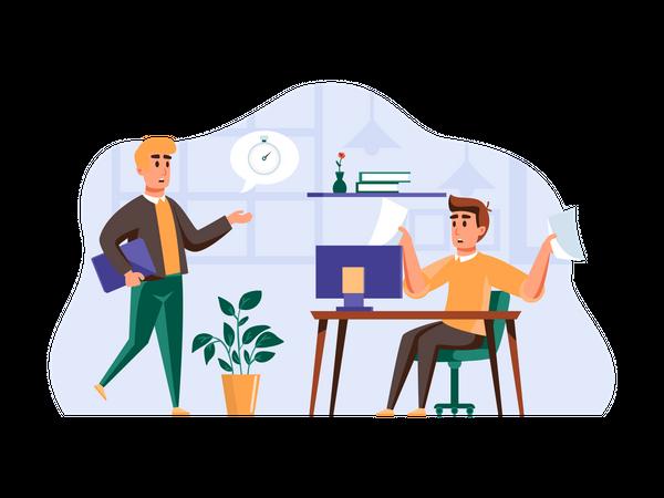 Employees managing task Illustration