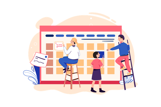 Employees planning office schedule Illustration