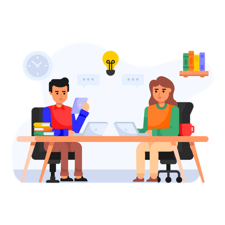 Employees sharing their knowledge Illustration