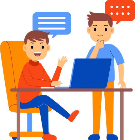 Employees talking with each other Illustration