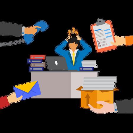 Employees under work pressure Illustration