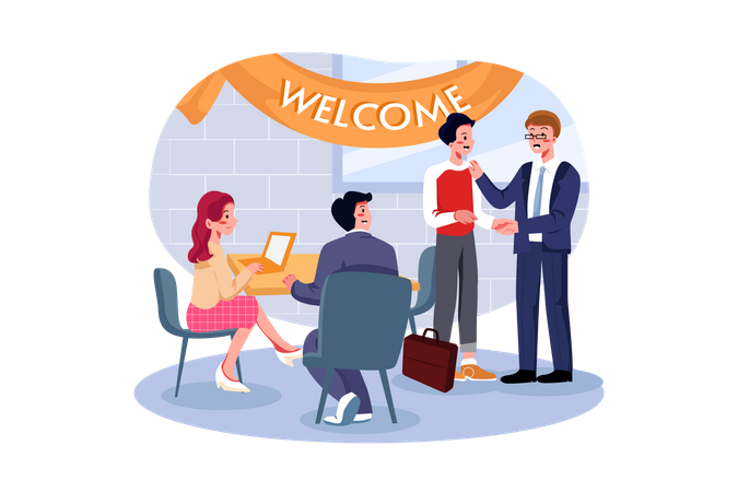 Employees welcoming new employee in office Illustration