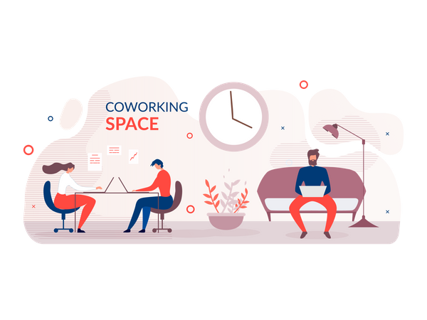 Employees working in modern office Illustration