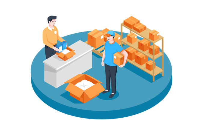 Employees working in warehouse Illustration