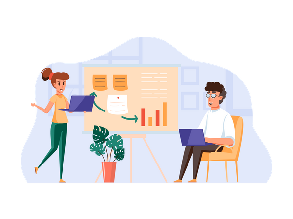 Employees working on business growth analysis Illustration