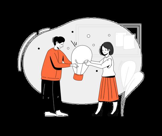 Employees working on business idea Illustration