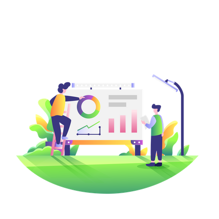 Employees working on business presentation Illustration