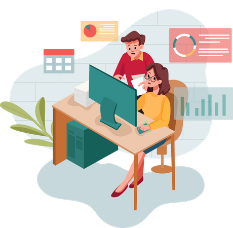 Employees Working on business report Illustration