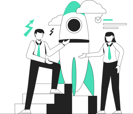 Employees working on business startup Illustration