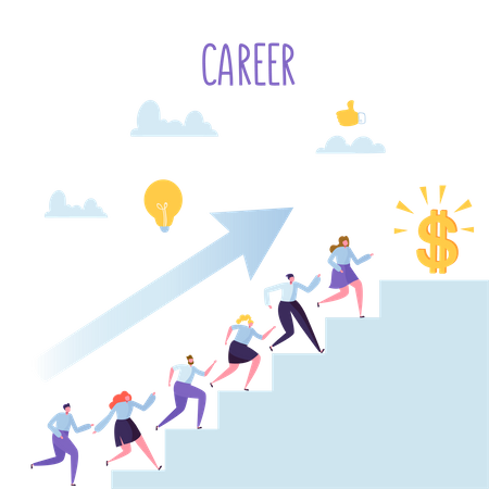 Employees working on career growth Illustration