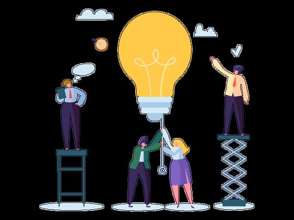 Employees working on marketing idea Illustration