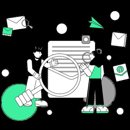 Employees working on marketing strategy Illustration