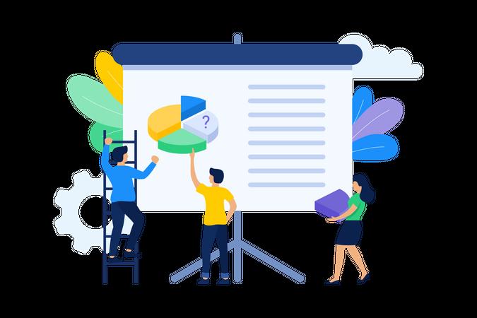 Employees working on presentation Illustration