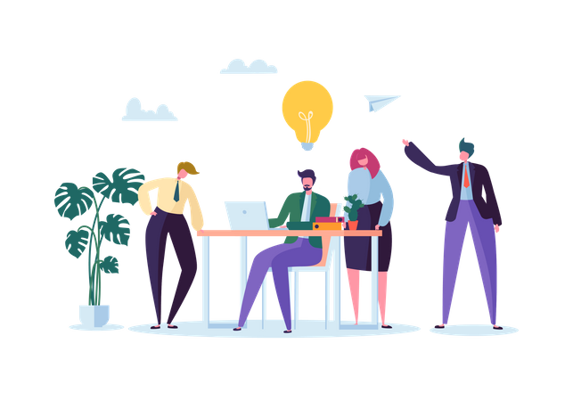 Employees working on project Illustration