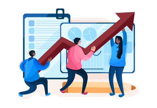 Employees working on sales growth Illustration