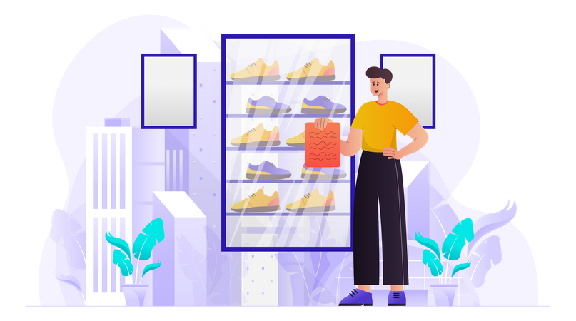 Employees Working On Sales Report Illustration