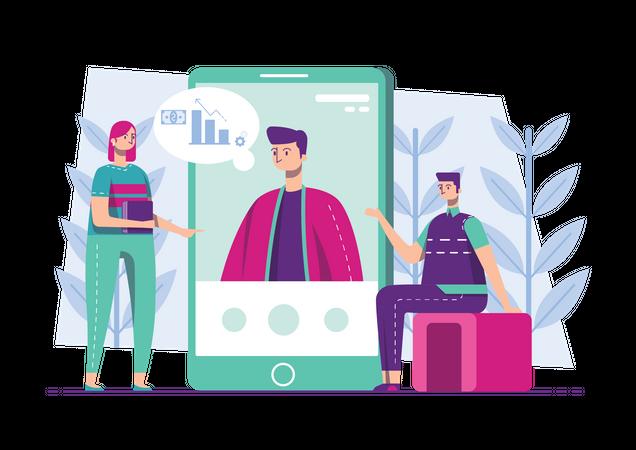 Employees working on social influencer marketing Illustration