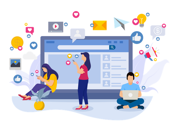 Employees working on social media marketing Illustration