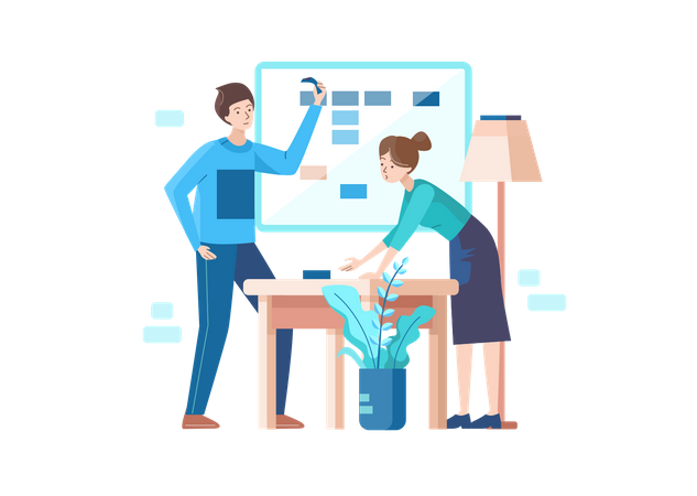 Employees working on time schedule Illustration
