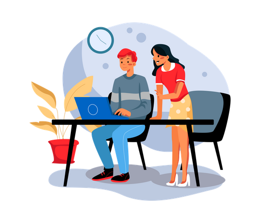 Employees working together Illustration