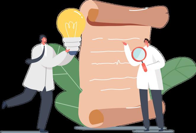 Employer analyzing business idea Illustration