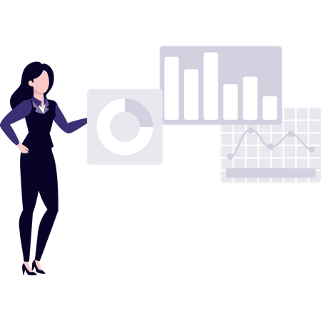 Employer doing statistical data analysis Illustration