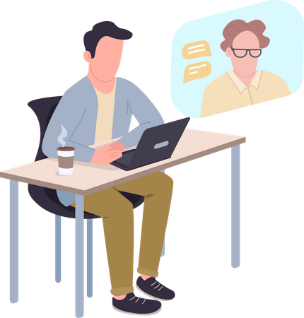Employer doing video conferencing with head Illustration