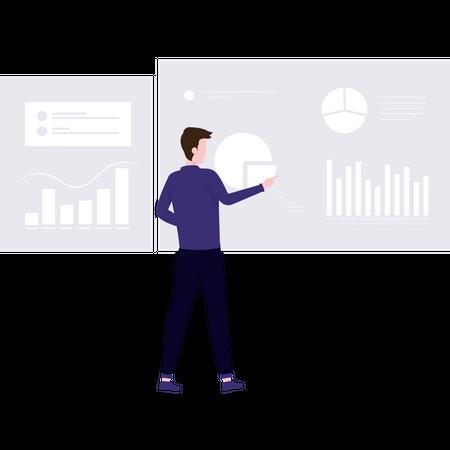 Employer giving presentation on business statistics Illustration