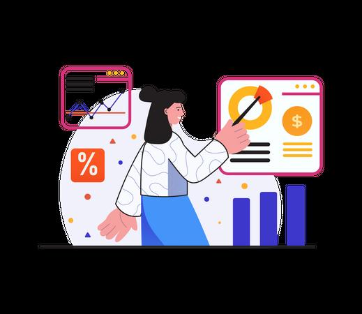 Employer giving presentation on market analysis Illustration