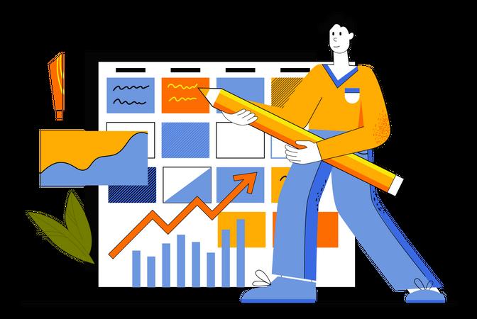 Employer Making Business Schedule Illustration