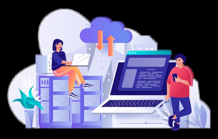 Employer manages cloud server hosting Illustration