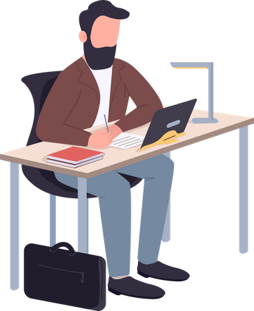 Employer taking notes while online meeting Illustration